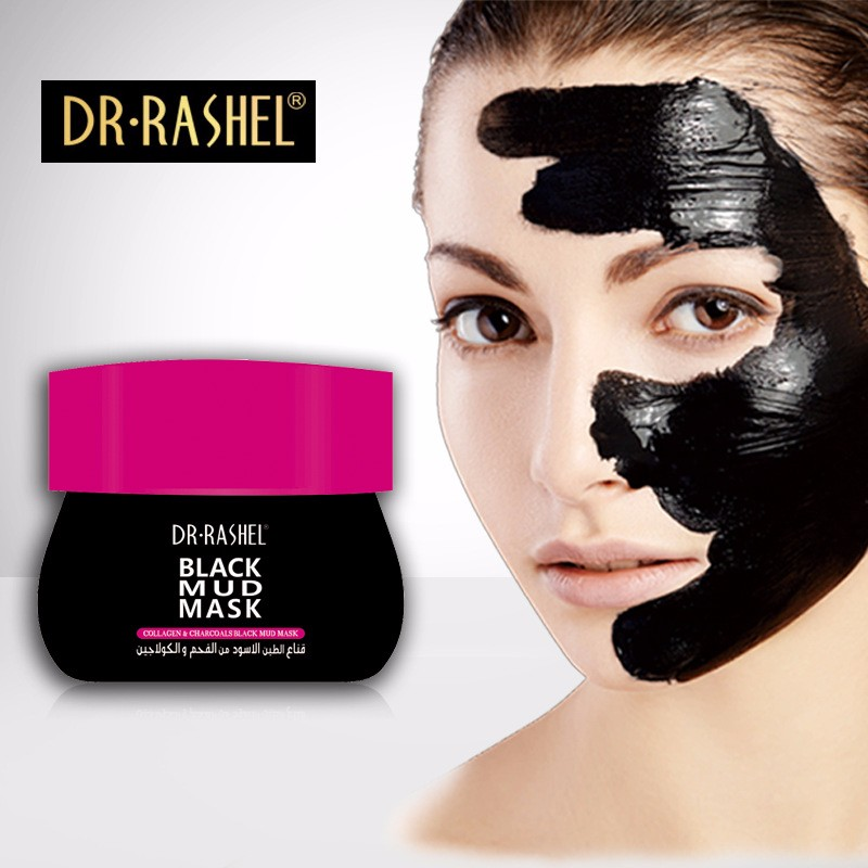Dr.Rashel Charcoal Mud Face Mask Whitening Deep Cleansing Anti Aging Blackhead Remover Black Mud Mask