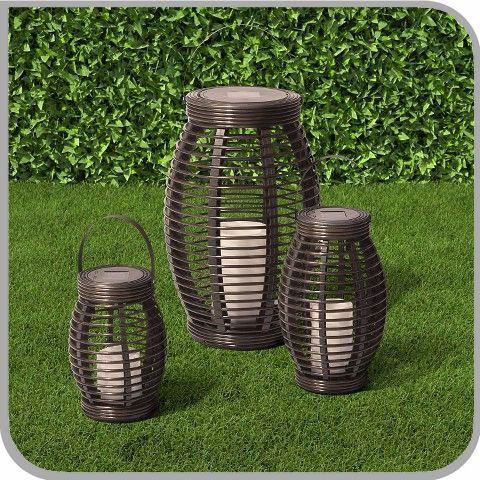 Rattan Solar Powered Lamp Led Tall Outdoor Garden Patio