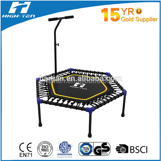 Fitness Mini trampoline with handle for adult (foldable), round and hexagonal