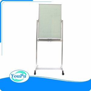 Business used high quality polished freestanding flexible white dry erase notice glass writing board
