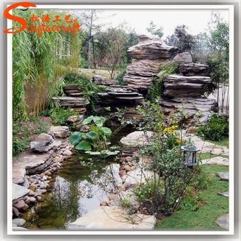 Chinese Large Rockery Fiberglass Waterfalls Natural Stone Buddha Garden  Fountain Outdoor For Sale Fake Stone Outdoor