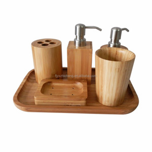 Wholesale Bamboo 6 Piece Luxury Bath Accessories Set Soap Dispenser, Toothbrush Holder, Tumbler ,Soap Dish and Tray