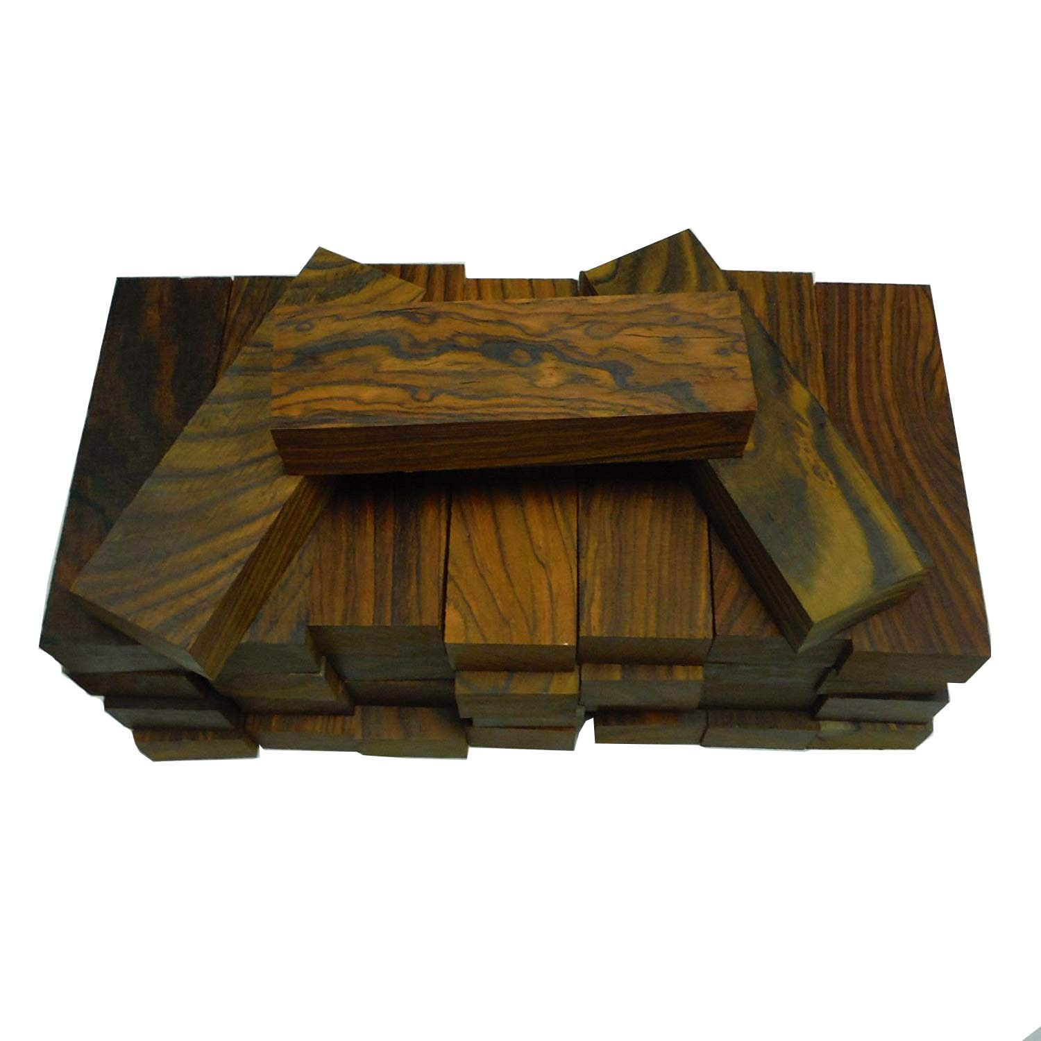 """20 kiln dried, 100% heartwood cocobolo rosewood knife blanks 5"""" x 1.5"""" x 1"""" inch"""