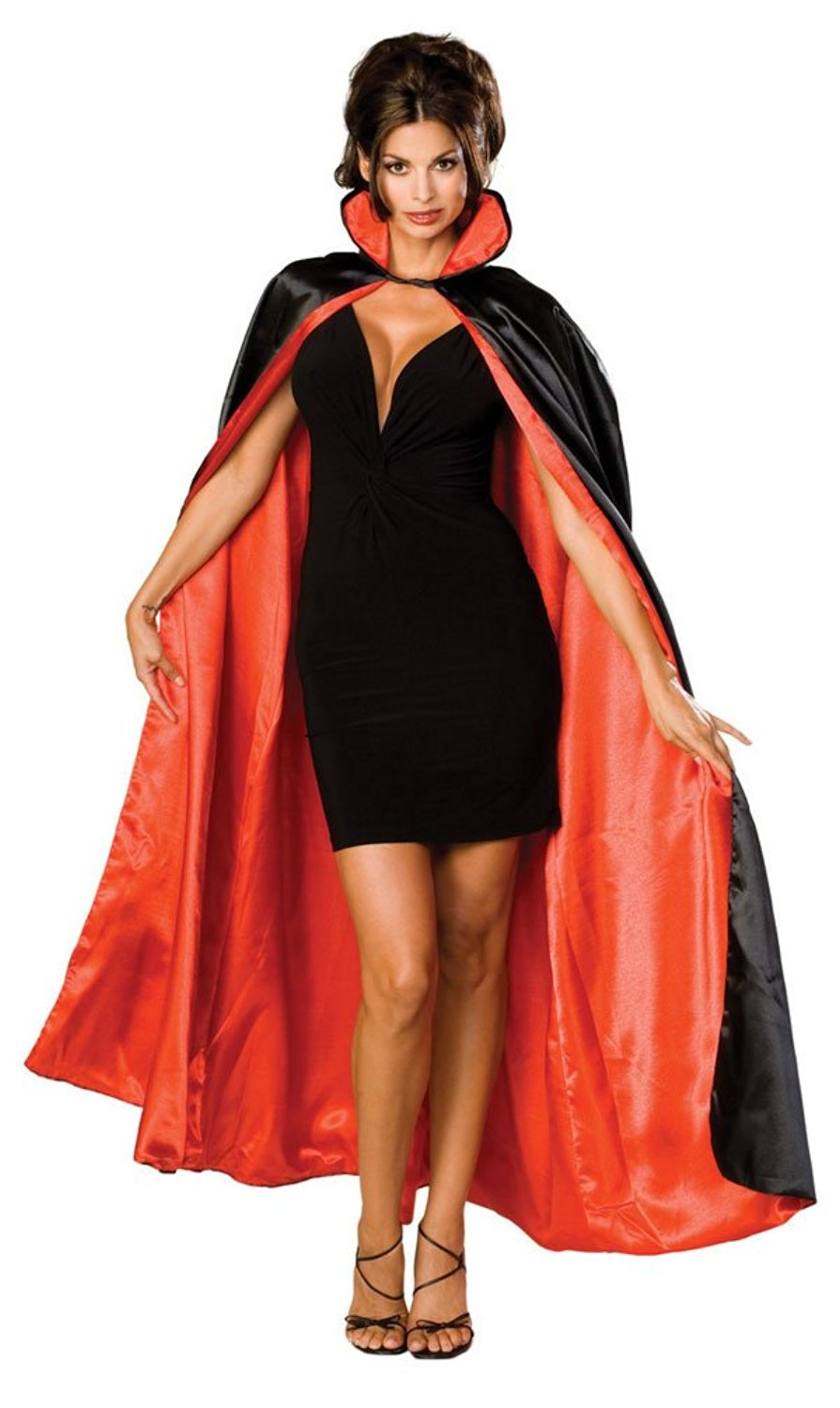 Get Quotations · Long Black Satin Cape Lined w/Red Satin - Adult Std.
