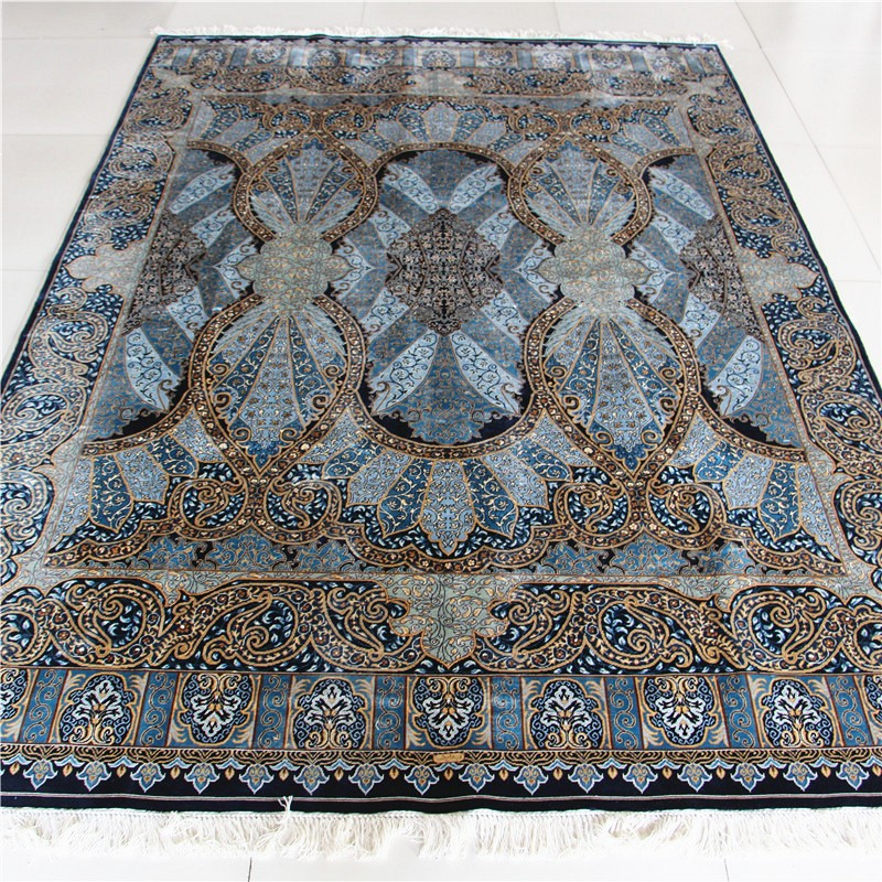 5.5x8ft blue color Chinese rug pure handmade cotton rug