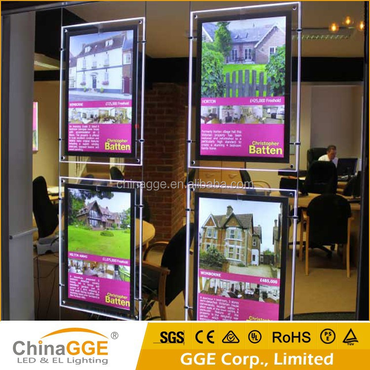 Slim LED light box real estate agent window display wall hanging acrylic poster frame a4 acrylic pockets window