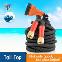 New Magic Expandable Hose Pipe Garden Water Hose with Spray Nozzle 8 Function Gun,Retractable Hose,Solid Brass Ends, Double Late