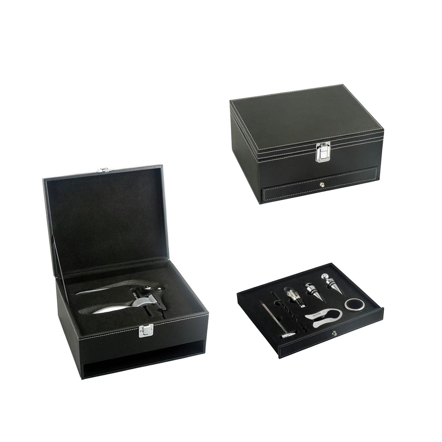 wholesale creative cheap wooden wine set box with lock