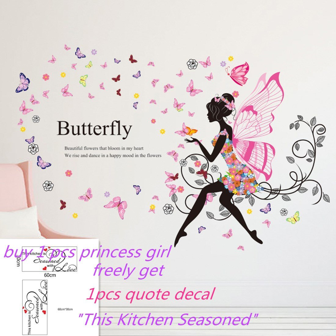 Main Street Wall Creations Jumbo Stickers Fairies And Butterflies Wall Stickers Murals