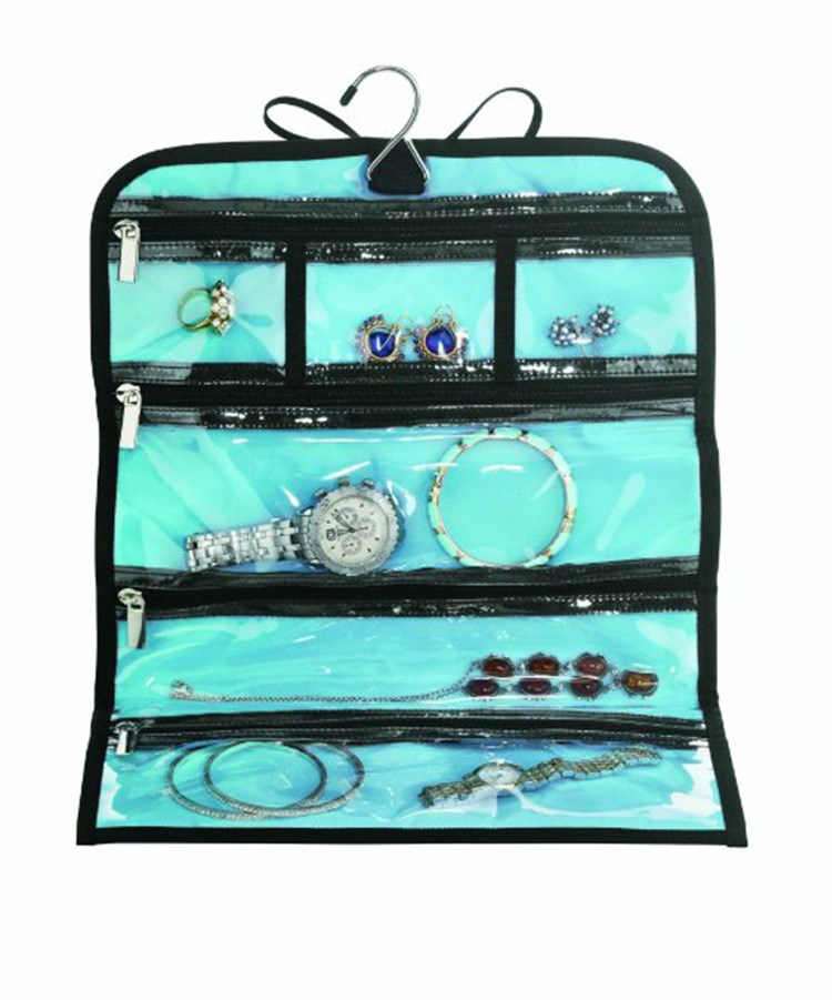 Convenient Travel Hanging Jewelry OrganizerPortable Roll Up Jewelry
