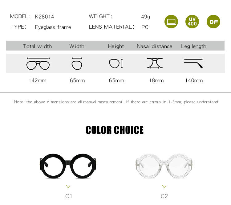 Custom Logo Spectacle Clear Lens Female Brand Stylish Eyeglasses Round Optical Frame