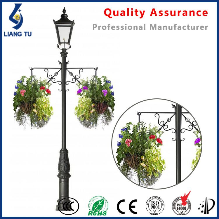 Outdoor Lighting One Light Lamp Post And Planter With Plants Hanger