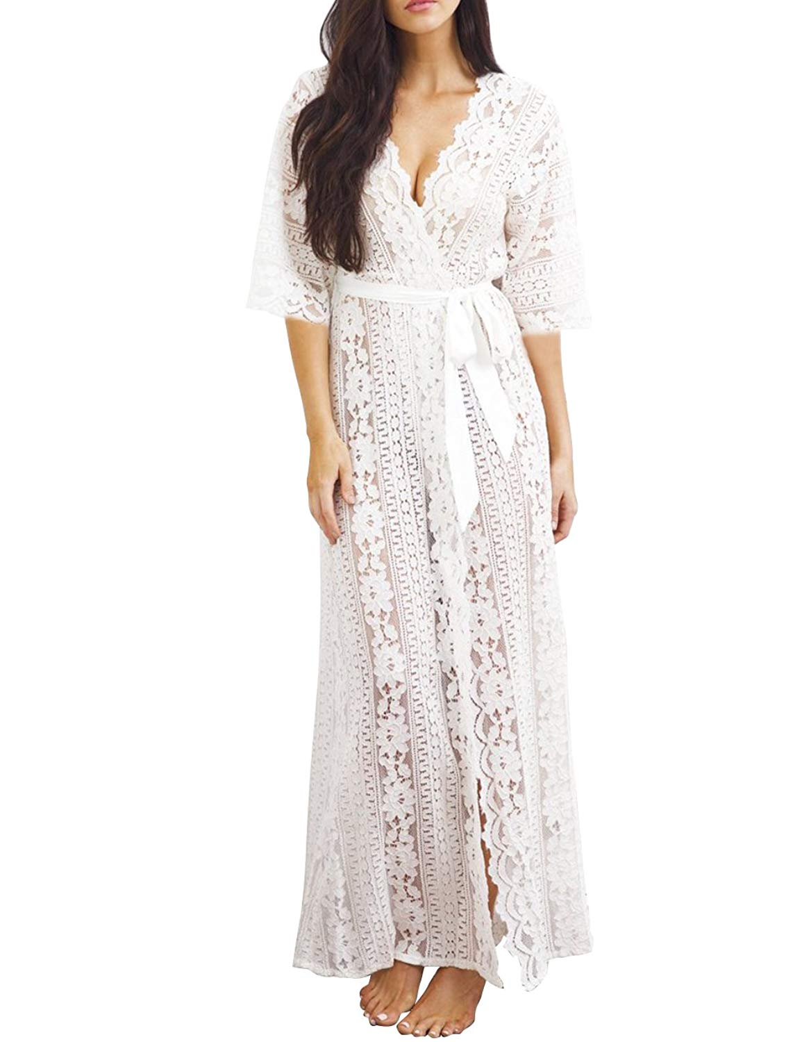 4a28ba0178848 Get Quotations · Angielucky Women's Embroidered Beach Maxi Dress Bathing  Suit Cover up Beach Cover up Dress