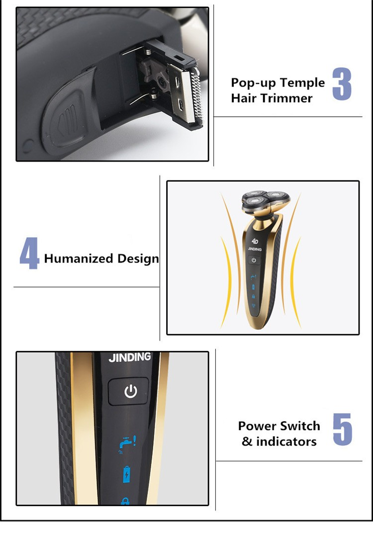 Hight Quality Men Electric Strong 3 Heads Rotary Shaver Rechargeable Waterproof Shaver for men