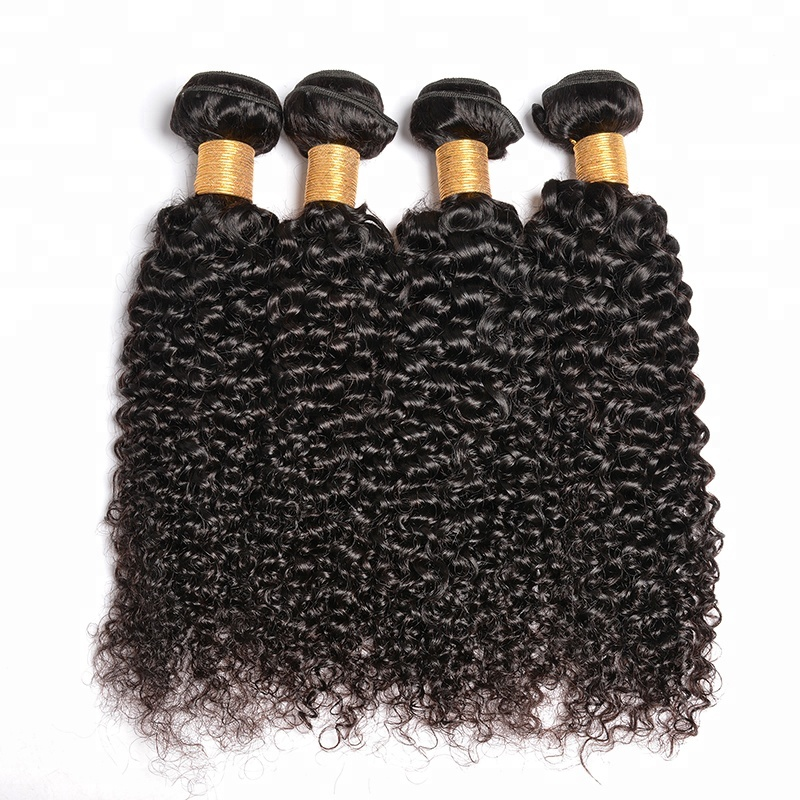 Super Double Drawn Virgin Hair บราซิล Curly Human Hair Extensions, Virgin Mongolian Kinky Curly Hair