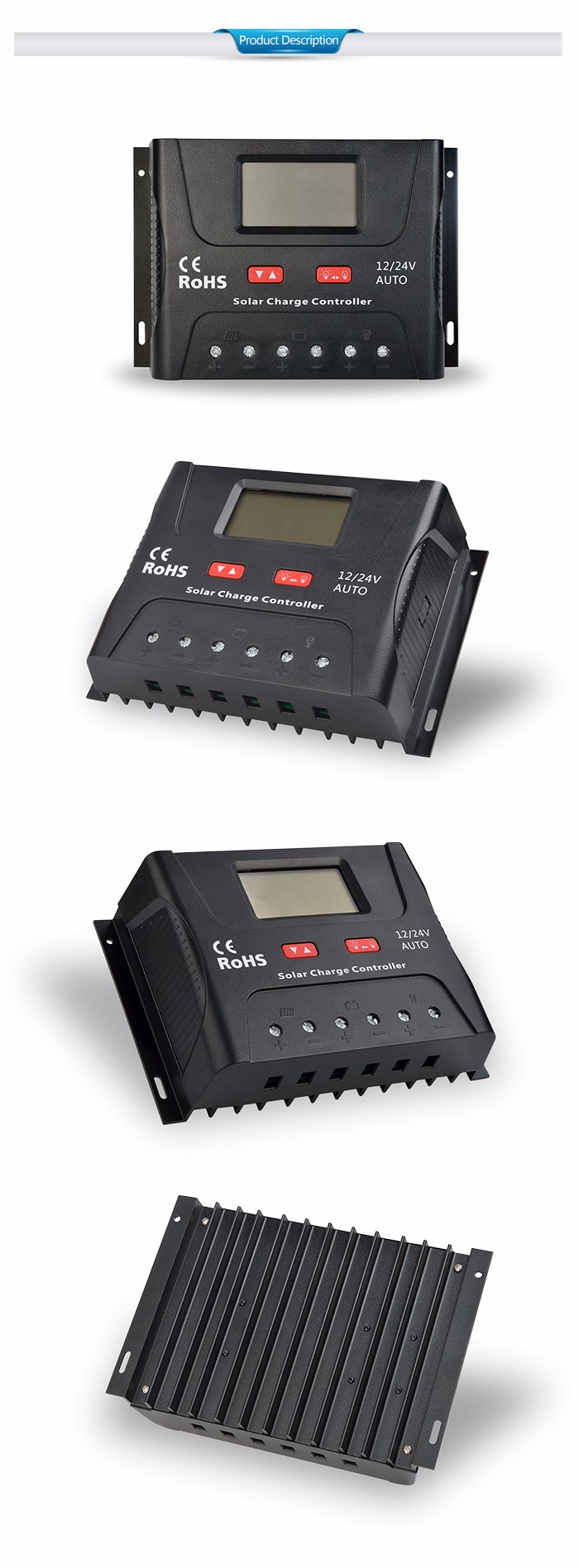 SRNE classic & typical PWM charge controller SR-HP series 60A 12/24V auto LCD screen for home power system use