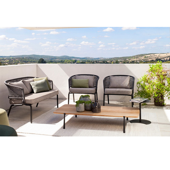 CK207 Alibaba New Italy All Weather Waterproof Anti UV Outdoor Furniture  Polyester Kettal Outdoor Sofa Garden