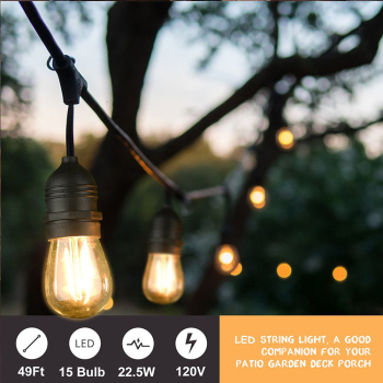 Exceptionnel E27 String Lights S14 48Ft Edison Vintage Patio Lights String