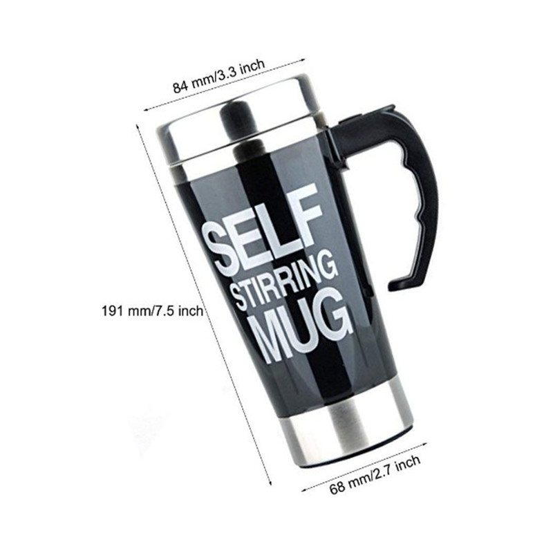 Promo 500ml stainless steel self stirring coffee mugs with handle