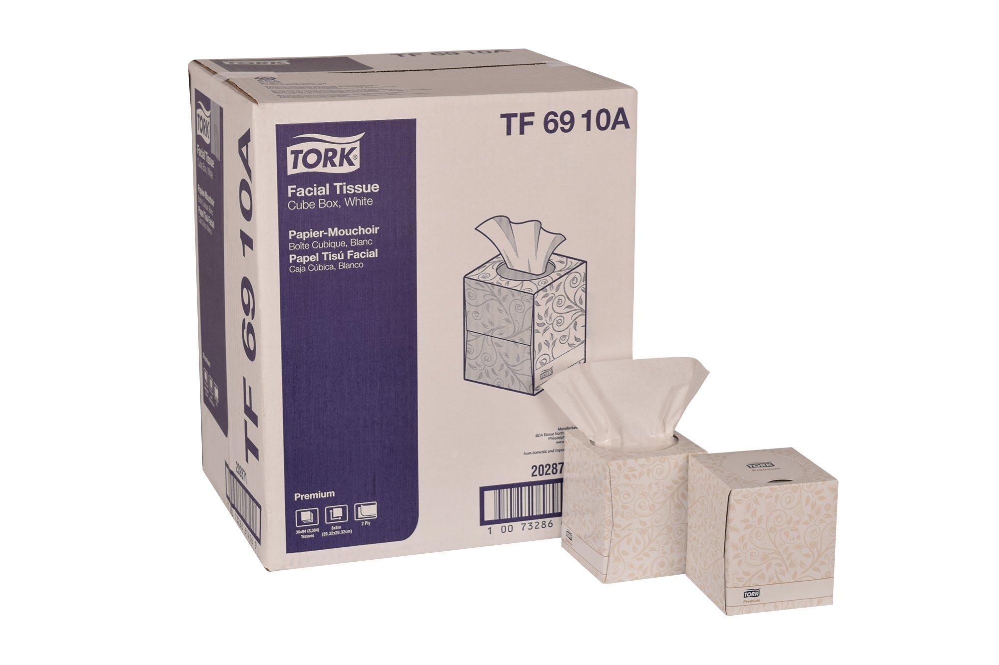 "Tork Premium TF6910A Facial Tissue, Cube Box, 2-Ply, 8.0"" Width x 8.0"" Length, White (Case of 36 Boxes, 94 per Box, 3,384 Sheets)"