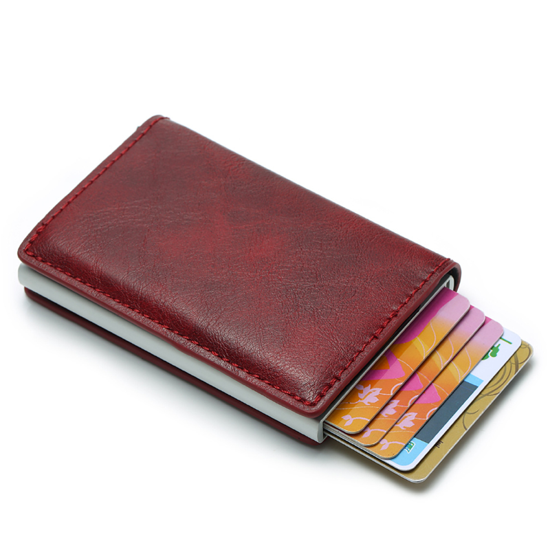 RFID Blocking Aluminum Credit Cards Holder Pouch Box With PU Leather Wallet European Style For Birthday Christmas Business Gifts