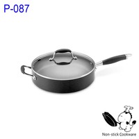 Deep frying aluminum saute pan with lid
