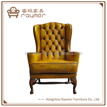 Beau Luxury Royal Furniture Antique Full Grain Leather Wing Chair Club Arm Chair
