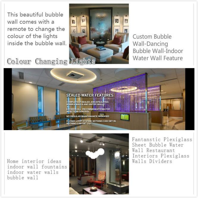 Benutzerdefinierte Bubble Water Wall mit Lichtern und LED-Bildschirmen und Raumteilern