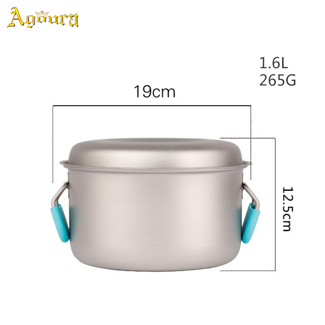 Outdoor Camping Pure Titanium Large size Pot,Healthy Purpose Titanium Cookware
