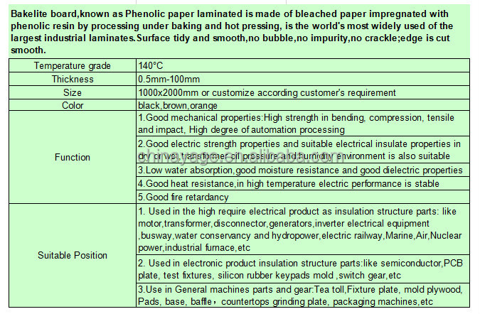 Phenolic Resin Bakelite Roof Insulation For Electrical Material Price List