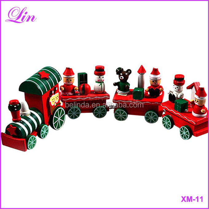 Hot New Lovely Charming little train Wood Christmas Train Ornament Decoration