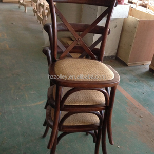 Stackable oak wooden frame Antique Crossback chair with rattan seat