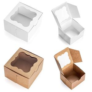 custom mini kraft paper brownies packaging cupcake boxes with paper insert