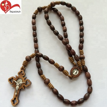 Religious Catholic 6mm Special Shape Wooden Cross Jewish Prayer Rosary Benedict Necklace Buy Wooden Beads Cross Necklacerosary Necklacerosary