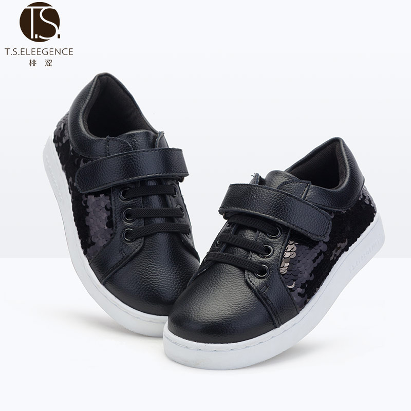 In stock black silver gold color back trimming school girls active <strong>flat</strong> sport shoes
