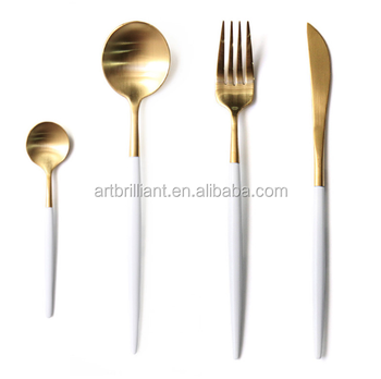 Dinnerware 18 8 Stainless Steel Cutlery Set Gold Flatware With White Handle Product On