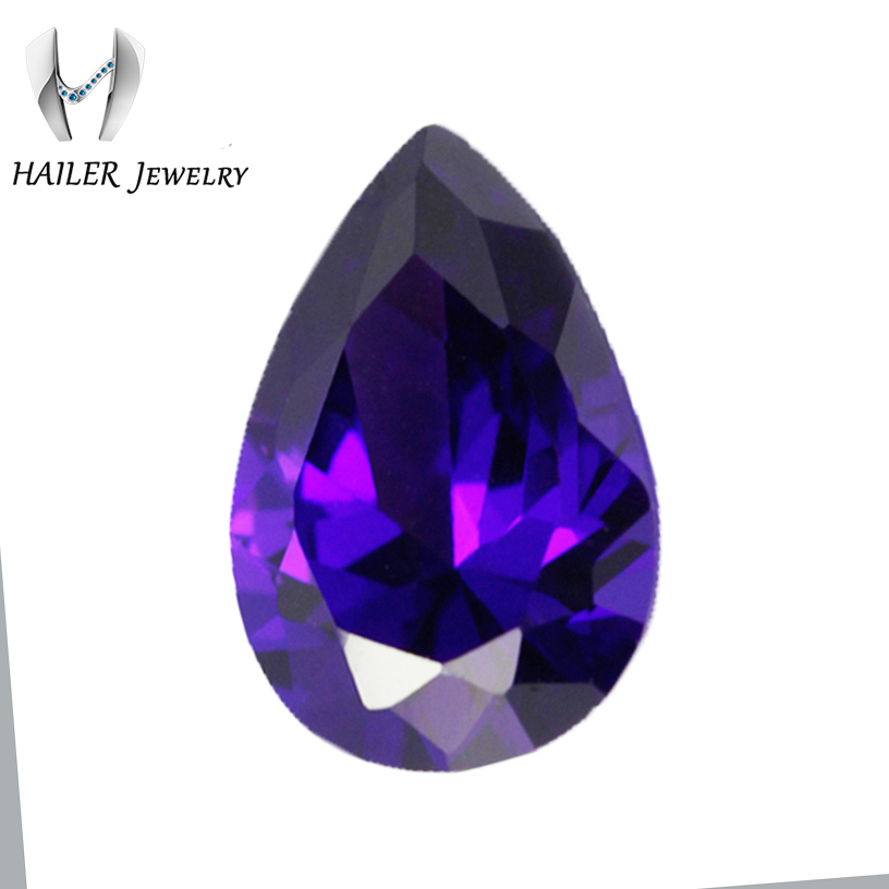 Dark Purple Color 7x5mm Tear Drop Cubic Zirconia