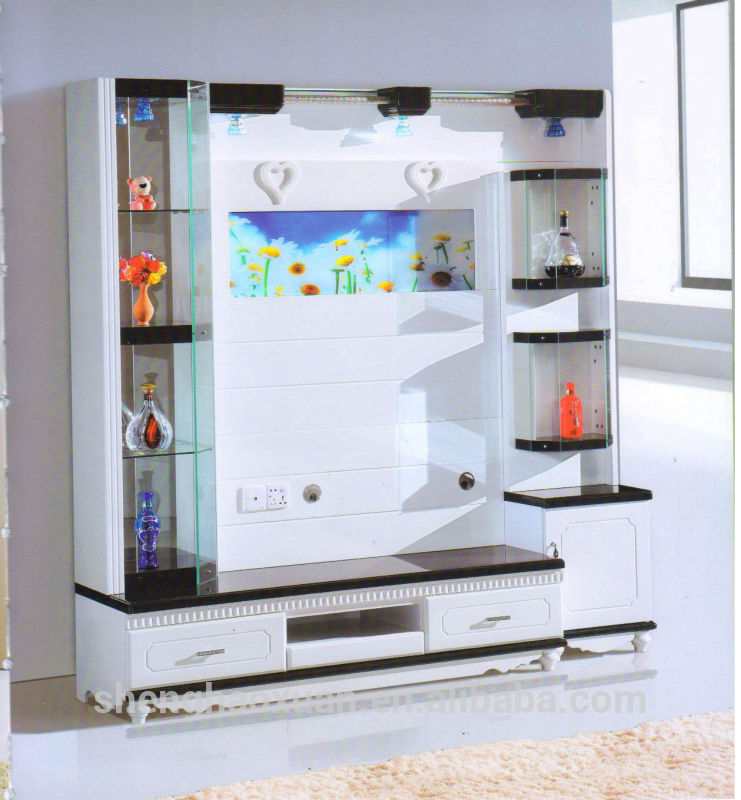 Hot selling home furniture tv hall cabinet living room for Simple lcd wall unit designs