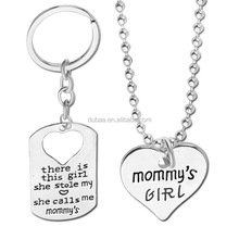 Fashion DIY Keychain and Necklace Heart Gift New Mommy Daddy Mother Father's Day