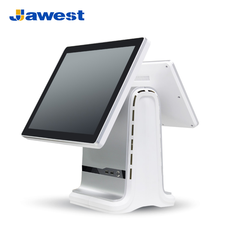 Jawest dual screen 15 inch touch screen cash register computer pos system for retail store