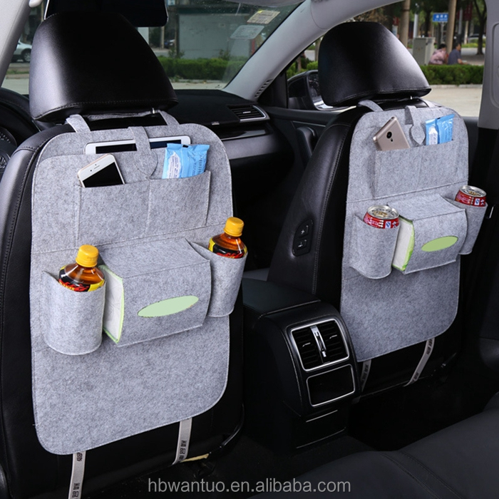 New design multifunctional car seat back storage bag felt car backpack bag