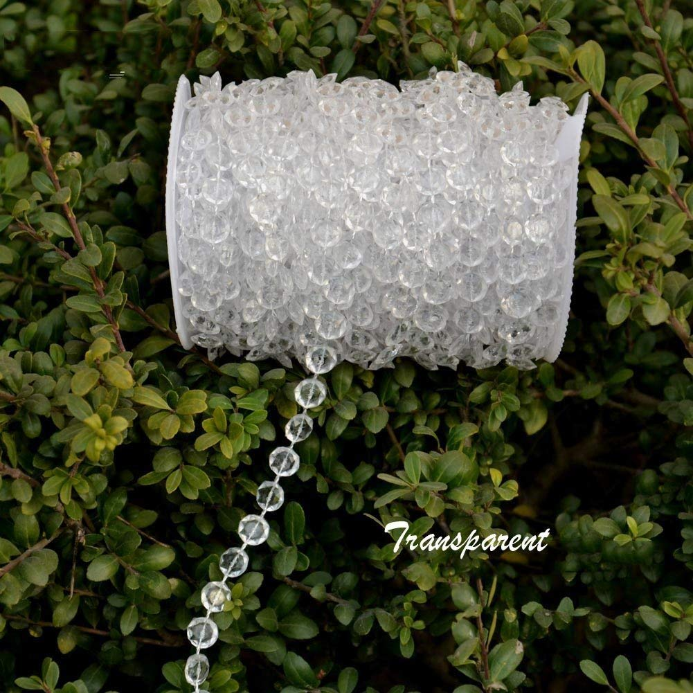 98Ft Acrylic Crystal Hanging Beads String for Wedding,Chandelier,Christmas Party Decorations,1 Roll,Clear