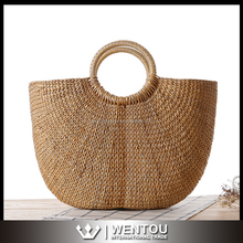 Wholesale Women Fashion Round Straw Tote Bag