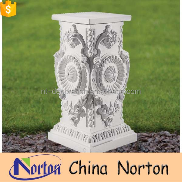 hand carved marble white outdoor roman column pedestals NTMF-PE013Y