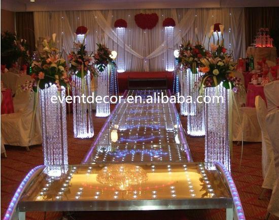 Tall Square Crystal Column Wedding Walkway Leading Road