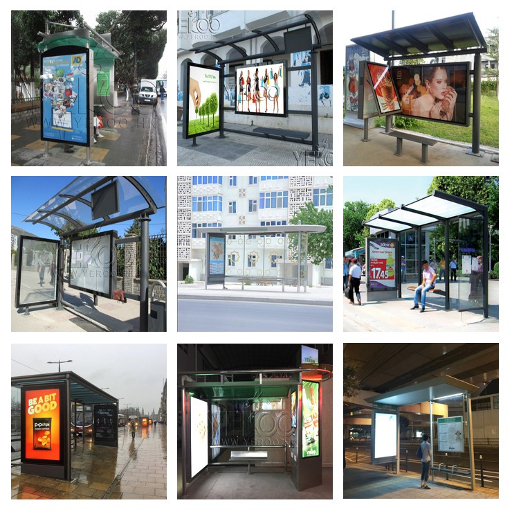 product-YEROO-Street furniture bus stop stainless bus shelter bus station-img-2