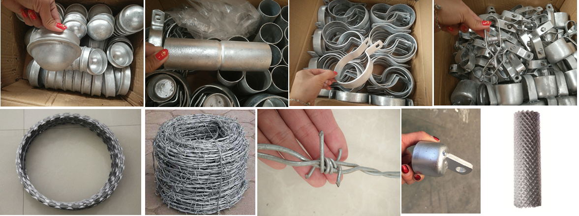 finish galvanized or PVC Chain Link Fence Accessories / Chain Link Fence Fittings
