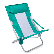 Folding hammock beach chair in blue with cup holder