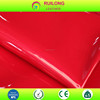 Red color mirror face leather burnishing pu suede leather fabric for bag or upholstery