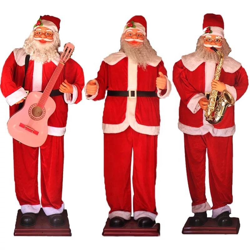 Imagenes De Papanoel En Movimiento.Venta Caliente 1 8 M Gran Movimiento Cantando Santa Claus Con Guitarra Y Saxofon Para Navidad Decoracion Del Hotel
